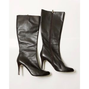 Halogen Brown Heeled Leather Boots